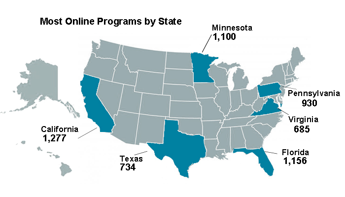 Most Online Programs by State